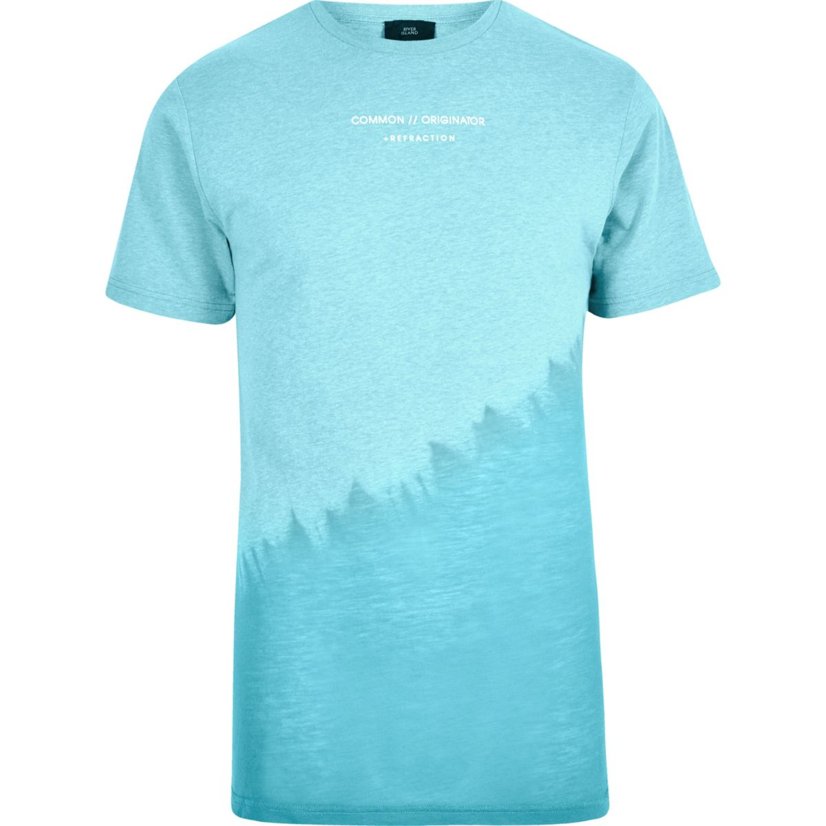 Blue slanted tie dye crew neck T-shirt