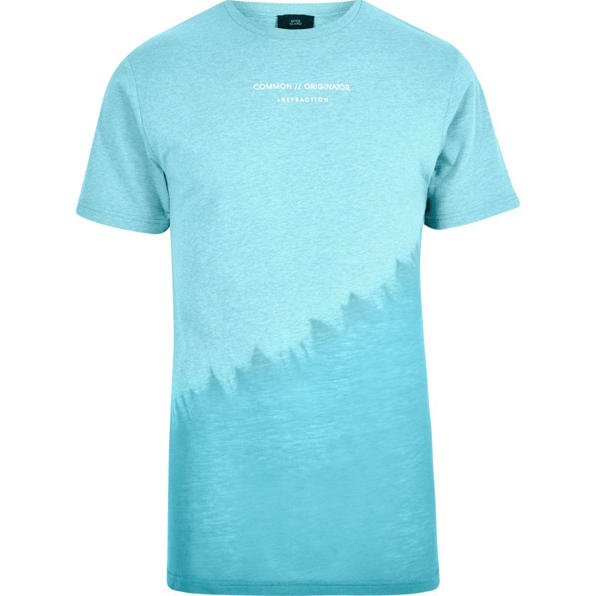 T-shirt effet tie-dye oblique bleu à col ras-du-cou