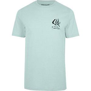 T-shirt imprimé «Never again» vert clair