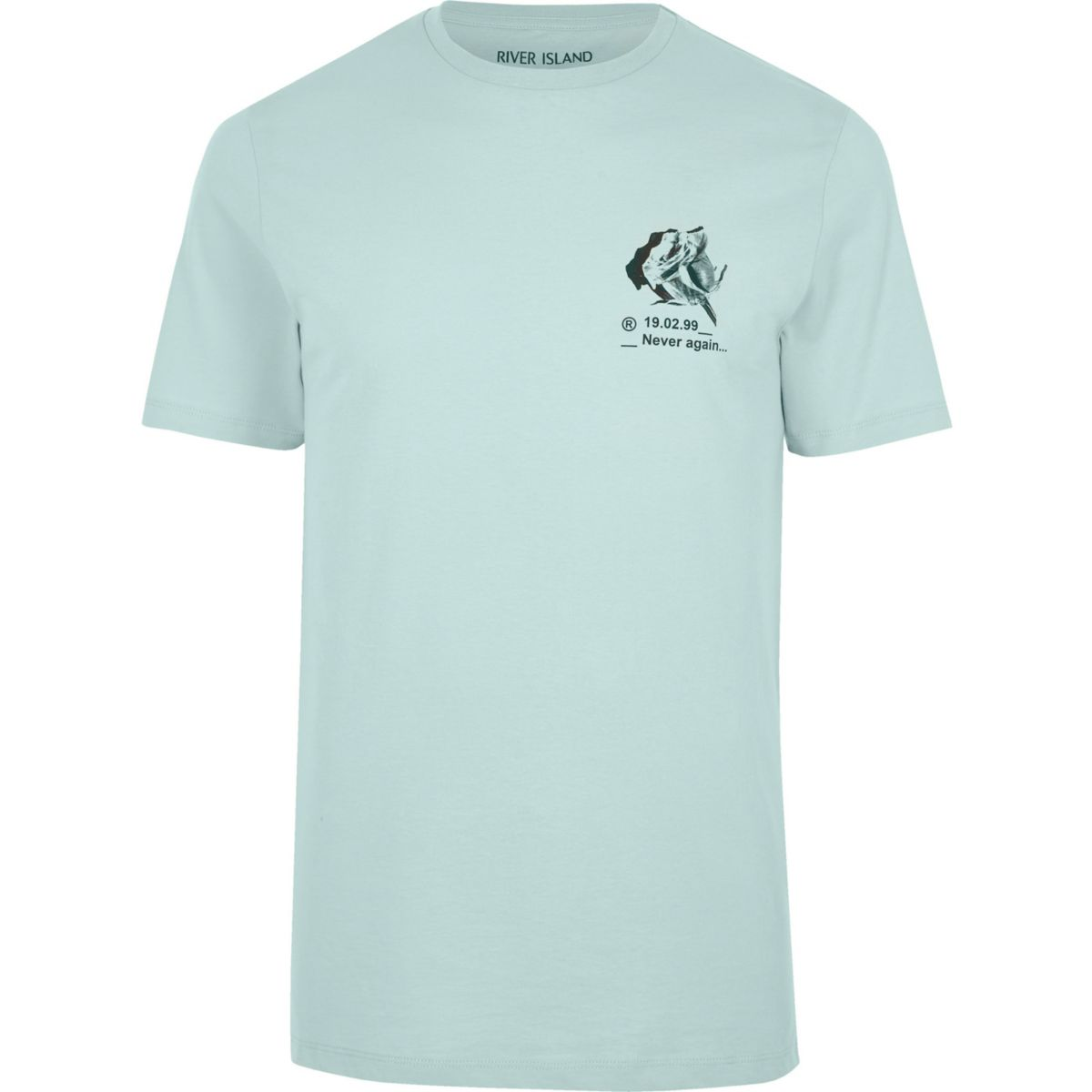 Light green 'never again' print T-shirt