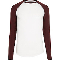 White raglan long sleeve muscle fit T-shirt