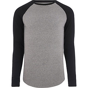 Grey marl muscle fit raglan sleeve T-shirt