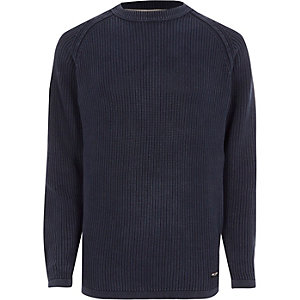 Navy Only & Sons ribbed knit sweater