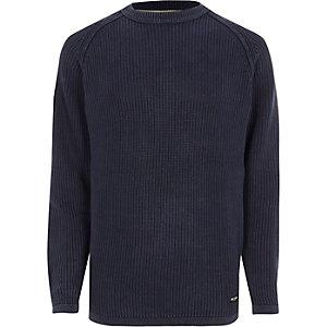 Only & Sons - Marineblauwe geribbelde gebreide pullover