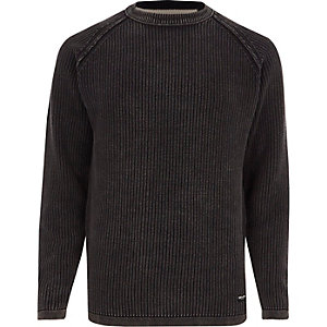 Black Only & Sons washed rib knit jumper