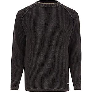 Only & Sons - Zwarte washed gebreide pullover met ribbels