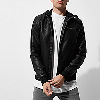 Black Only & Sons faux leather hooded jacket