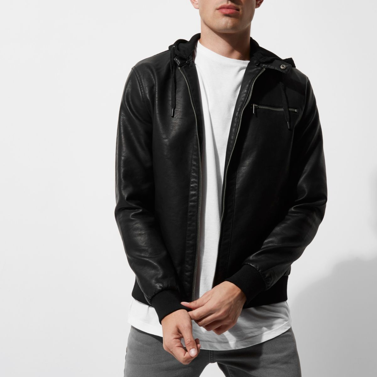 Black Only & Sons faux leather hooded jacket - Jackets - Coats ...