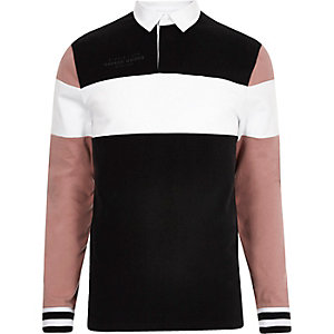 Black long sleeve blocked slim fit polo shirt