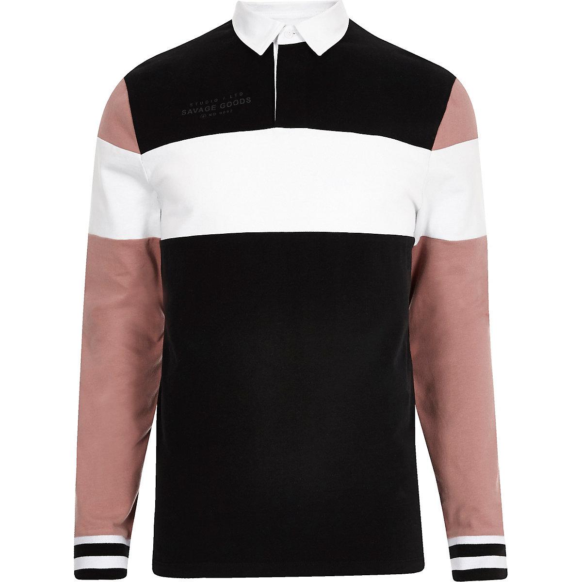 Black long sleeve blocked polo shirt