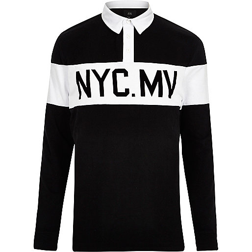 Black print long sleeve polo shirt