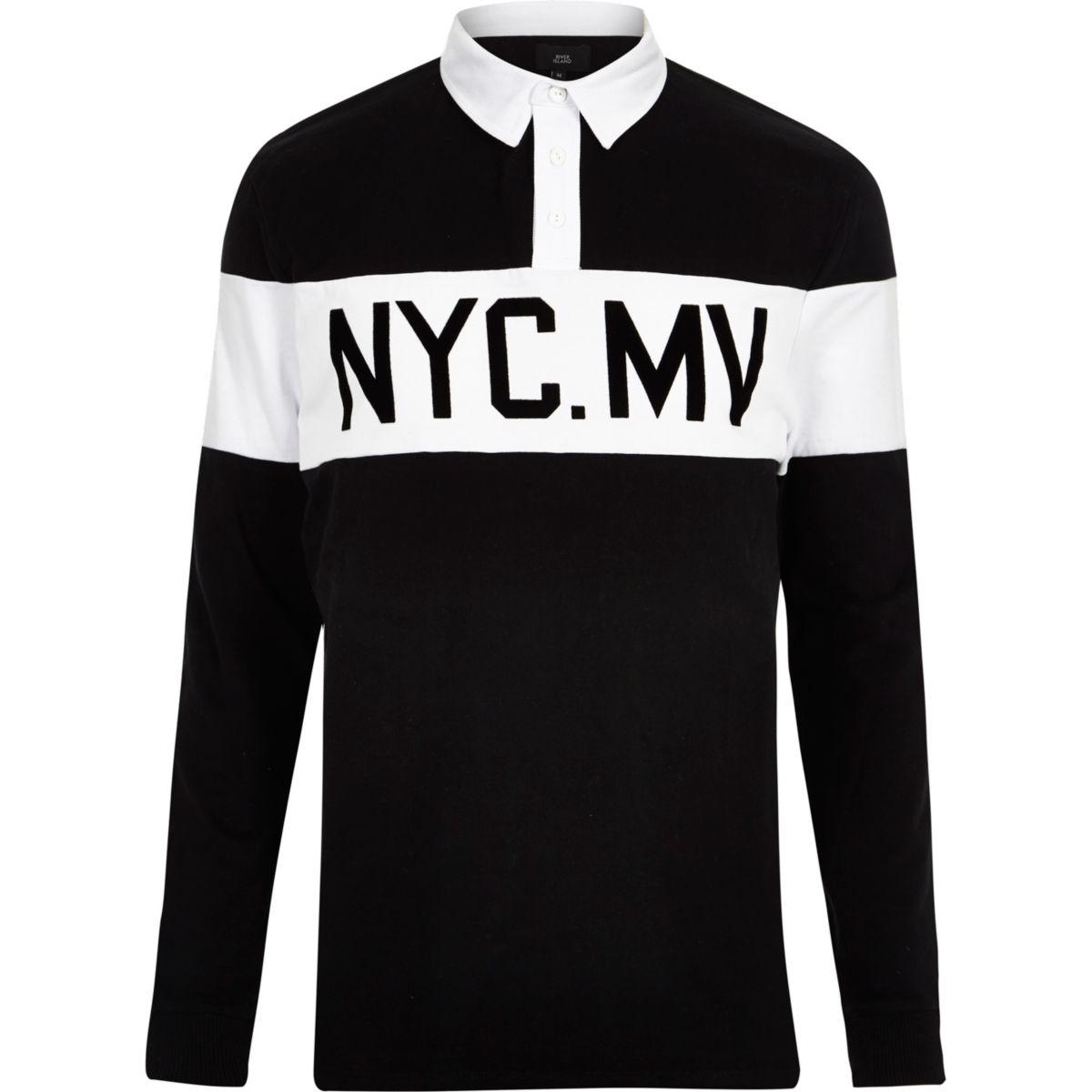 Black print long sleeve polo shirt