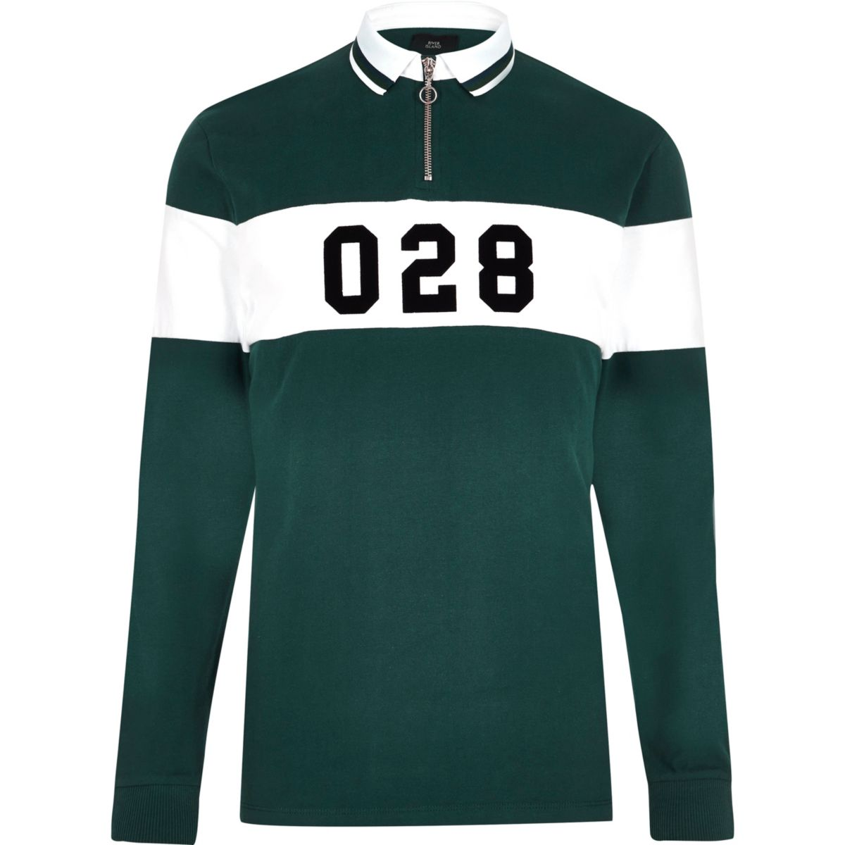 Green tipped rugby polo shirt