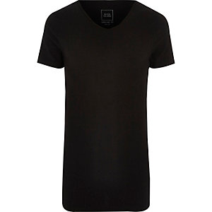Black scoop V neck muscle fit T-shirt