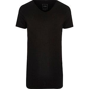 T-shirt ajusté noir à encolure en V dégagée