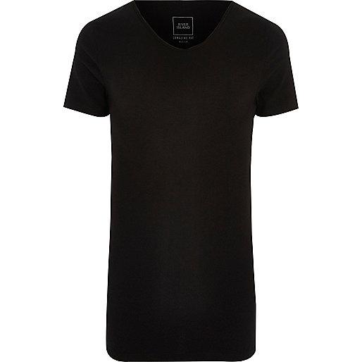 Black scoop V neck muscle fit T-shirt