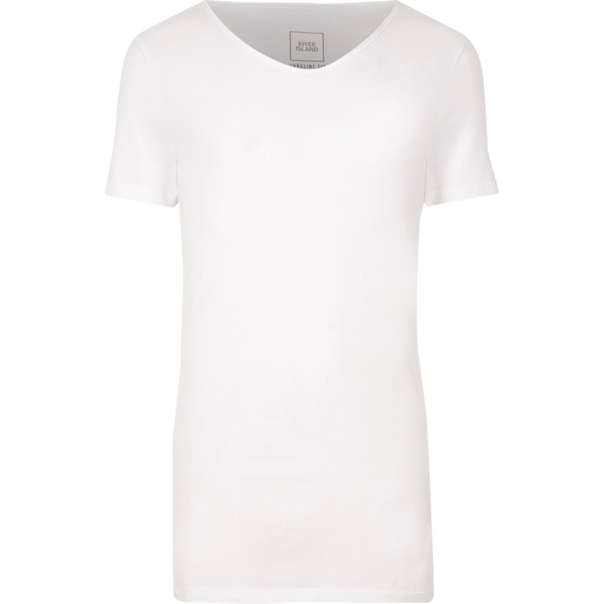 White scoop V neck muscle fit T-shirt