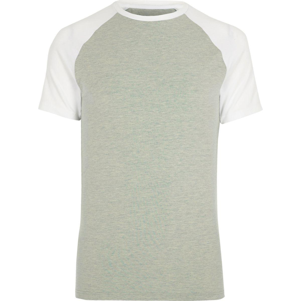 Light green raglan sleeve muscle fit T-shirt