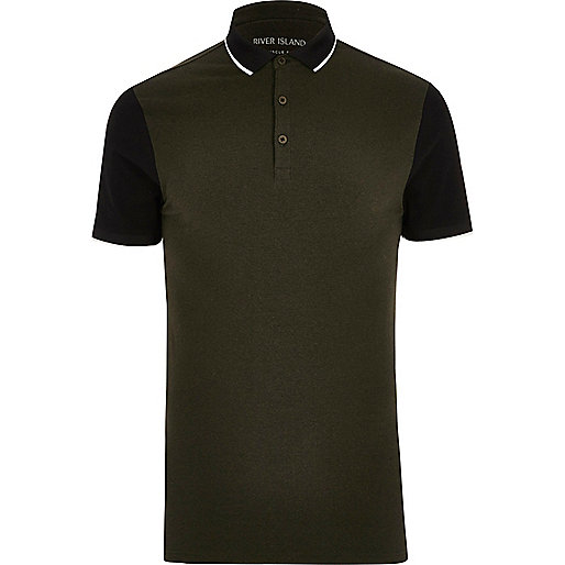 Khaki contrast sleeve muscle fit polo shirt
