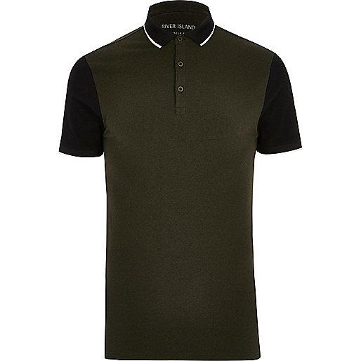 Khaki contrast sleeve muscle fit polo shirt