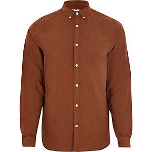 Bruin Oxford overhemd met lange mouwen