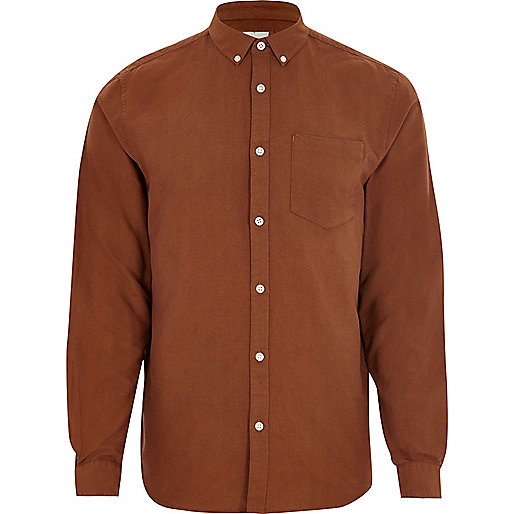 Brown long sleeve Oxford shirt