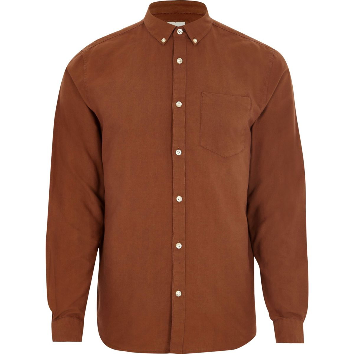 Brown long sleeve Oxford shirt