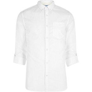 Wit slim-fit poplin overhemd met opgerolde mouwen
