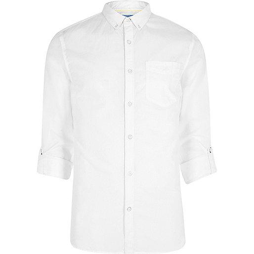 White poplin rolled sleeve slim fit shirt