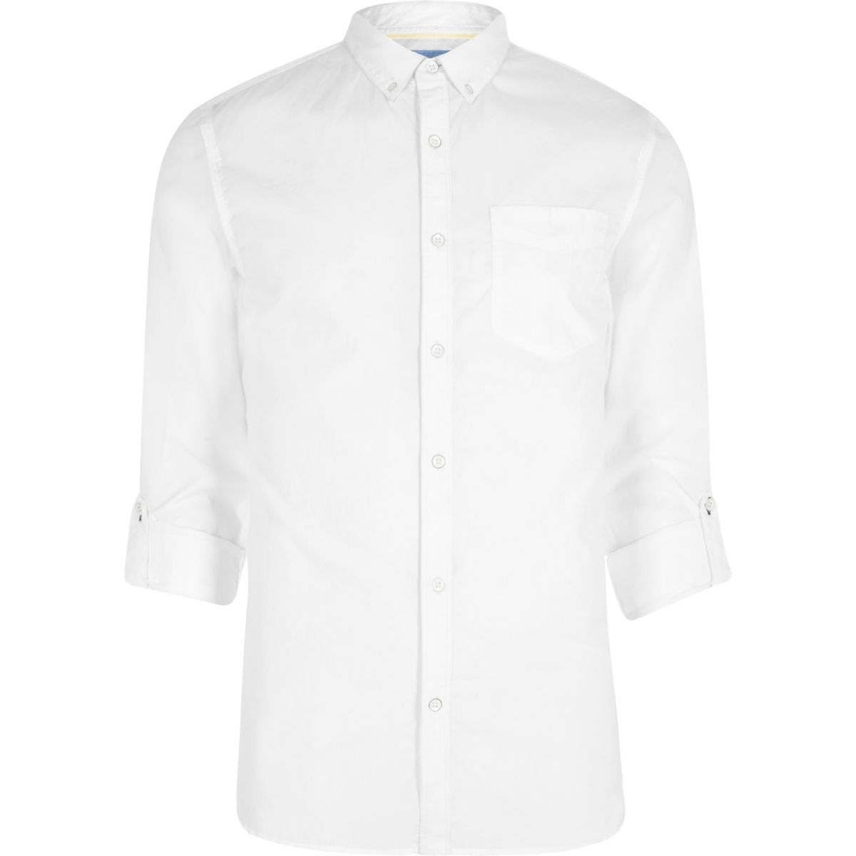 White poplin rolled sleeve slim fit shirt