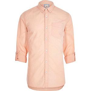 Oranje slim-fit zomeroverhemd met lange mouwen