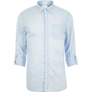 Light blue long sleeve slim fit summer shirt
