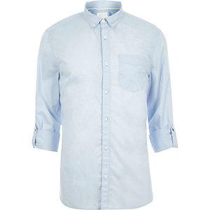 Lichtblauw slim-fit zomeroverhemd met lange mouwen