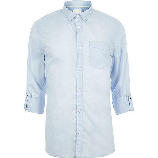 Light blue long sleeve slim fit summer shirt
