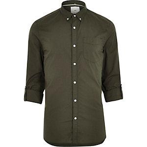 Grünes, langärmliges Slim Fit Sommerhemd