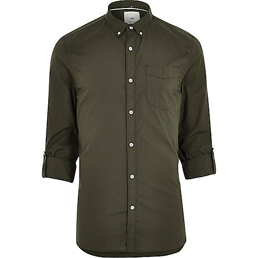 Green long sleeve slim fit summer shirt