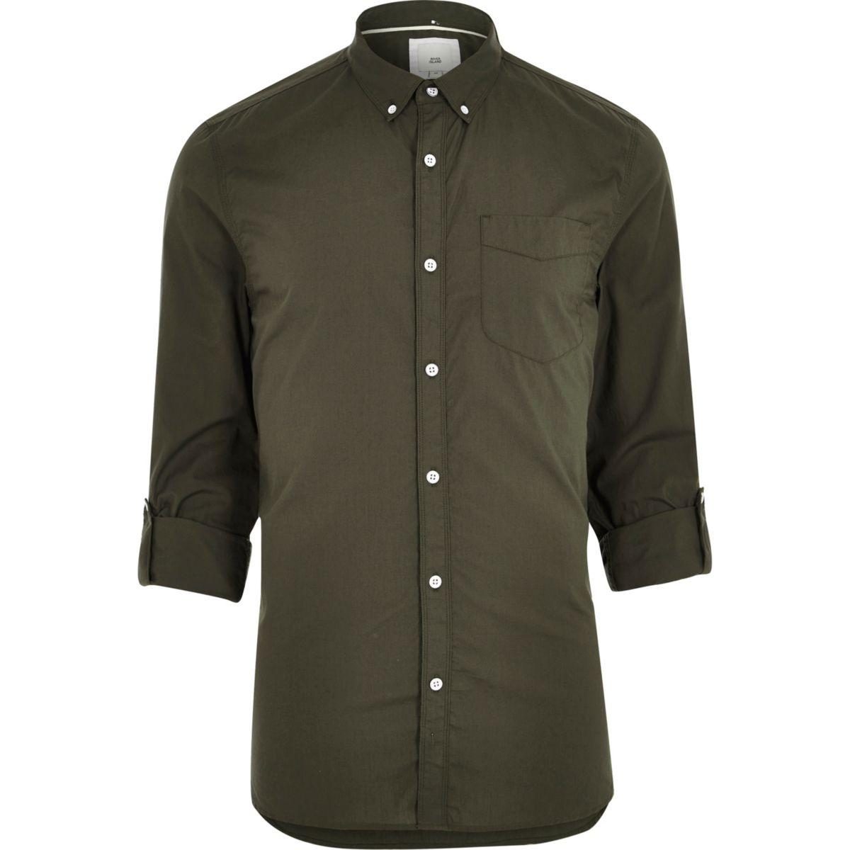 Green long sleeve slim fit summer shirt