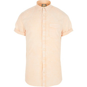 Orange acid wash short sleeve slim fit shirt