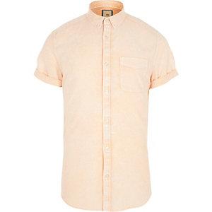 Oranje acid wash slim-fit overhemd met korte mouwen