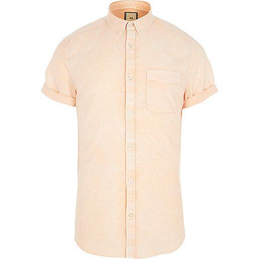 Orange acid wash short sleeve slim fit shirt
