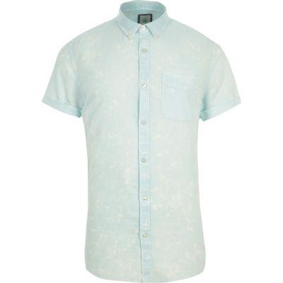Groen acid wash slim-fit overhemd met korte mouwen
