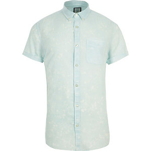 Green acid wash slim fit short sleeve shirt