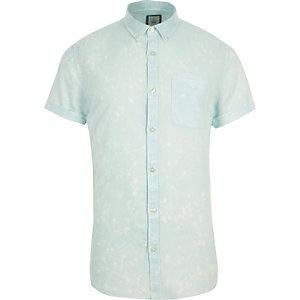Chemise slim verte délavée à l'acide à manches courtes