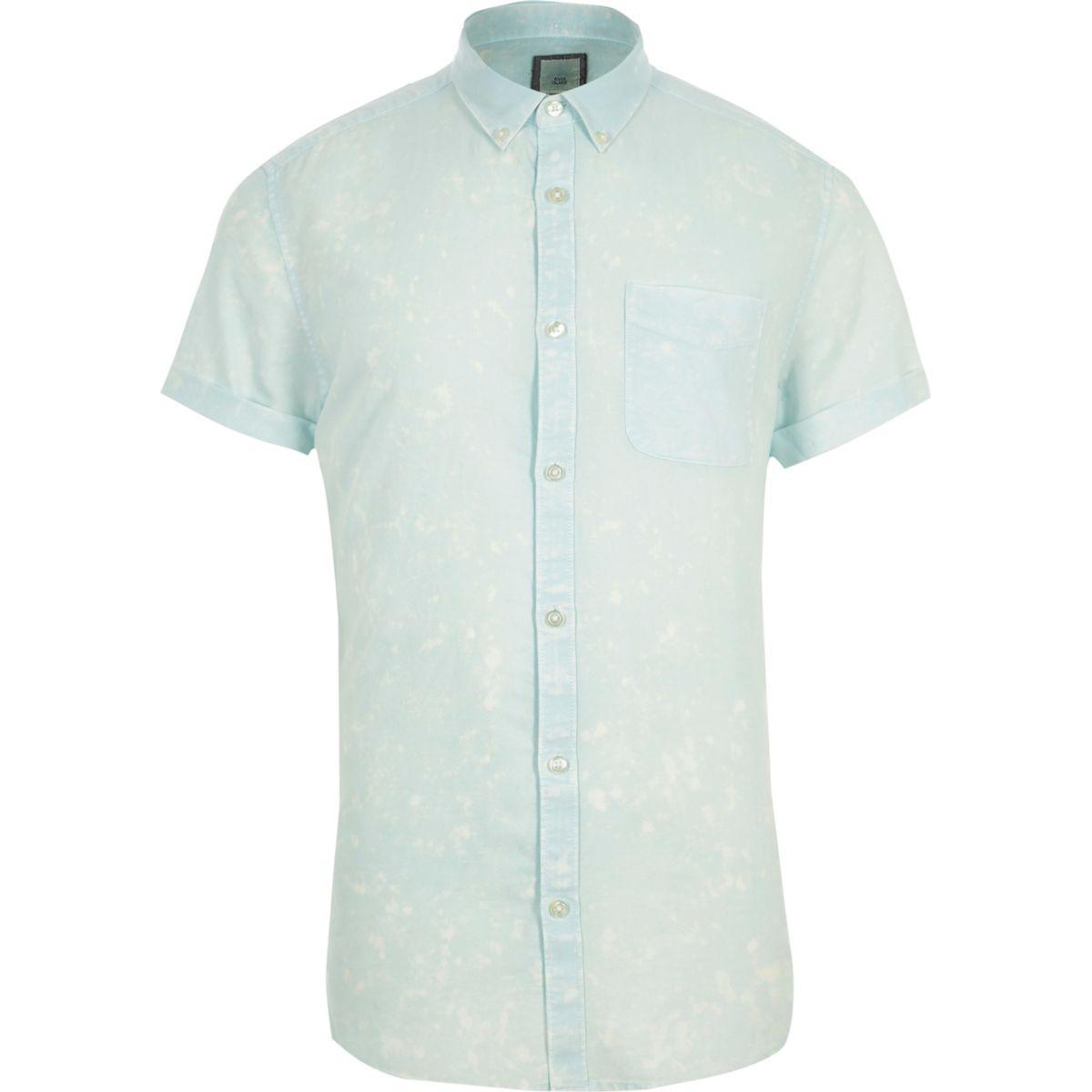 Green acid wash slim fit short sleeve shirt