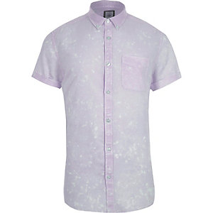 Purple acid wash short sleeve slim fit shirt