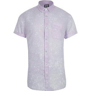 Slim Fit Hemd in Lila mit kurzen Ärmeln