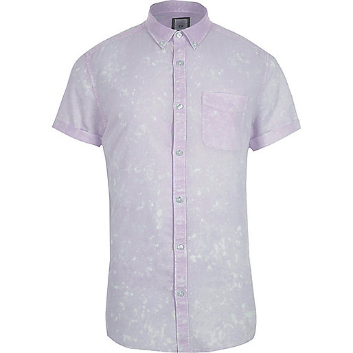 Purple acid wash short sleeve slim fit shirt