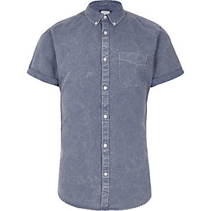 Blue acid wash short sleeve slim fit shirt