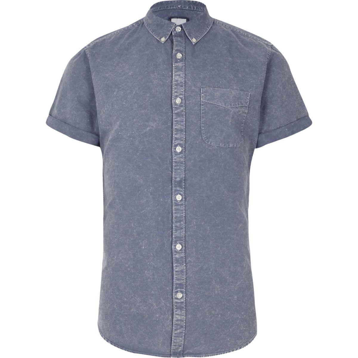 Chemise slim bleu délavé à l'acide à manches courtes