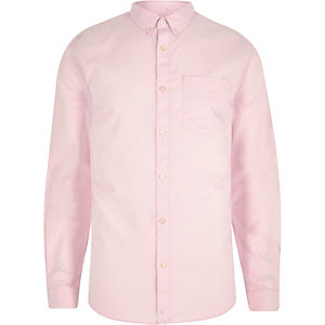 Chemise oxford manches longues rose